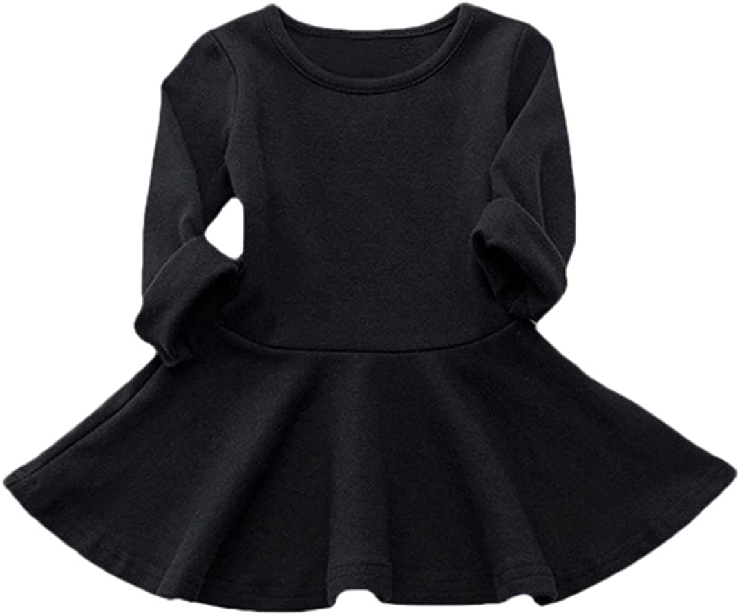 Candy Color Long Sleeve Solid Princess Dress Balakie Casual Toddler Kids Dress