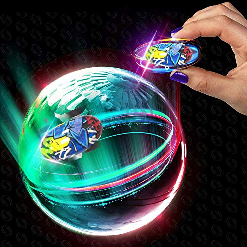 (Alagoo Micro Racers Car Toy, Mini High Speed Car Toy Stunt RC Car 360° Rotating Climber Cars with LED Light Up Glow in The Dark Cars with Ball Spinner and Keychain Gift for Kids (Colorful))