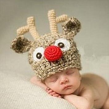 Cartoon Hirsch Babymütze Handgemachte Mütze Häkeln Baby Weich Und