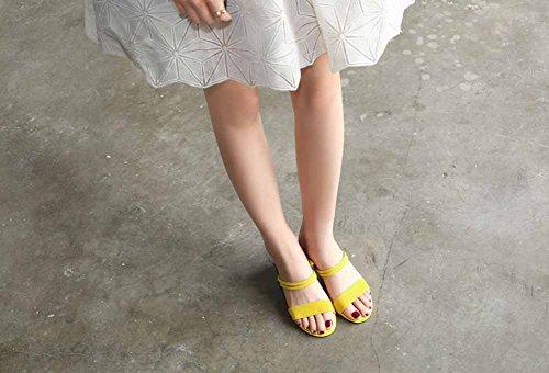 Sandalias mujeres gamuza T Heel Summer strap de Shoes las New Moda Amarillo Low Mules de Black 11rqa