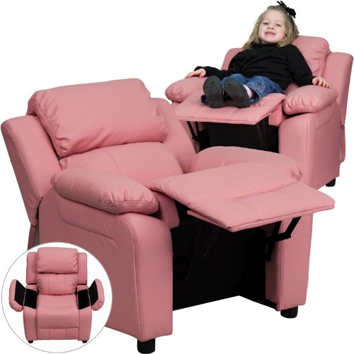 Deluxe Heavily Padded Contemporary Pink Vinyl Kids Recliner with Storage Arms [BT-7985-KID-PINK-GG] by Flash Furniture