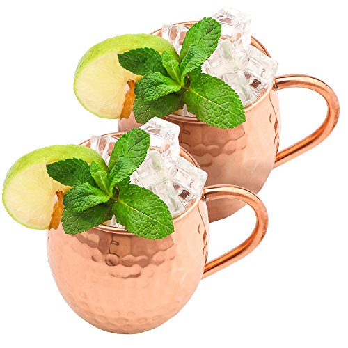 NLstellar Moscow Mule Copper Mugs - 100% Pure Copper - 2 Mugs (16-oz) in Gift Box - The Best Hammered Barrels for Cocktails & Cold Drinks - Stylish Gift for Those who Like Parties & Handmade Things