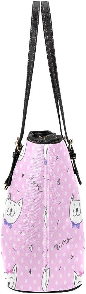 Kids Shoulder Bag Beautiful Warm Heart Lazy Animal Pet Cat Leather Hand Totes Bag Causal Handbags Zipped Shoulder Organizer For Lady Girls Womens Travel Bag For Kids