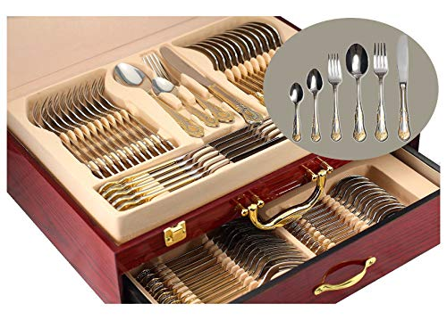 75-Piece Gold Flatware Set Dining Service for 12, 18/10 Premium Stainless Steel, 24K Gold-Plated...