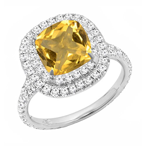 Dazzlingrock Collection 14K 7 MM Cushion Citrine & Round White Diamond Halo Engagement Ring, White Gold, Size 5.5