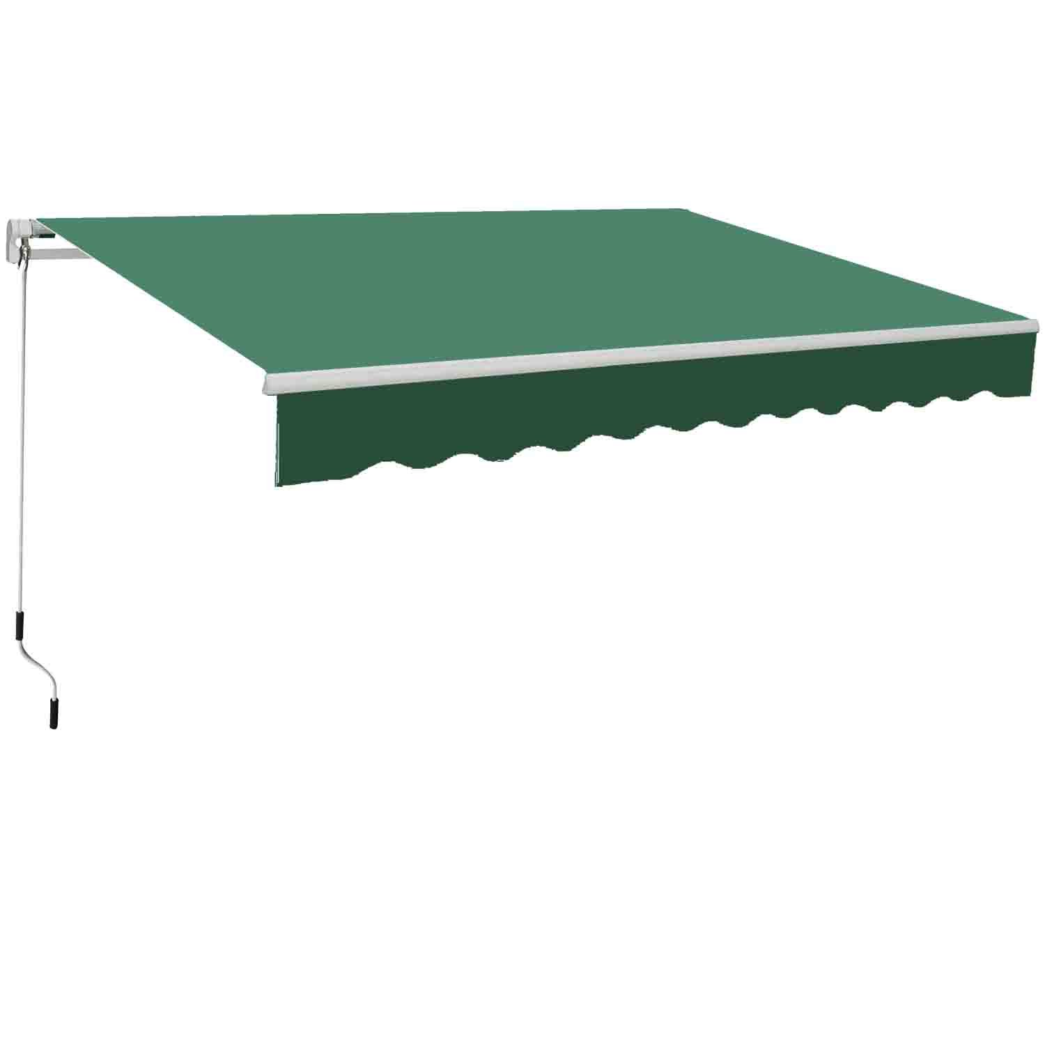 Greenbay 4x3m Garden Awning Replacement Fabric Top Cover Front Frill Green Manufactured for Greenbay