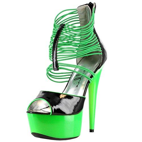 Damessandalen Zwart 6 Inch Hakken Plateauzolen Zwart Licht Clubschoenen Klinkend Groen