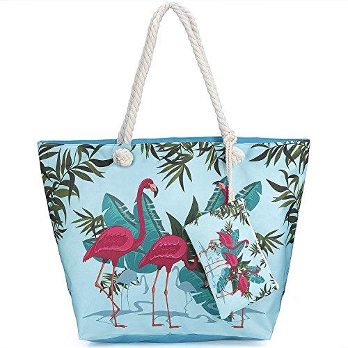 Main Vacances Flamant Shopping de Sac Zip 3 Ancre Filles Tout ZWOOS Pour Femme Fourre à et sac Avec de Pochette Plage Grand Sac ApnEwnq7