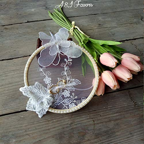 JIANCAICHEN 1pcs lot White Lace Butterfly Handmade Engagement Ring Bearer Wedding Marriage Day Ring Pillow 1pcs