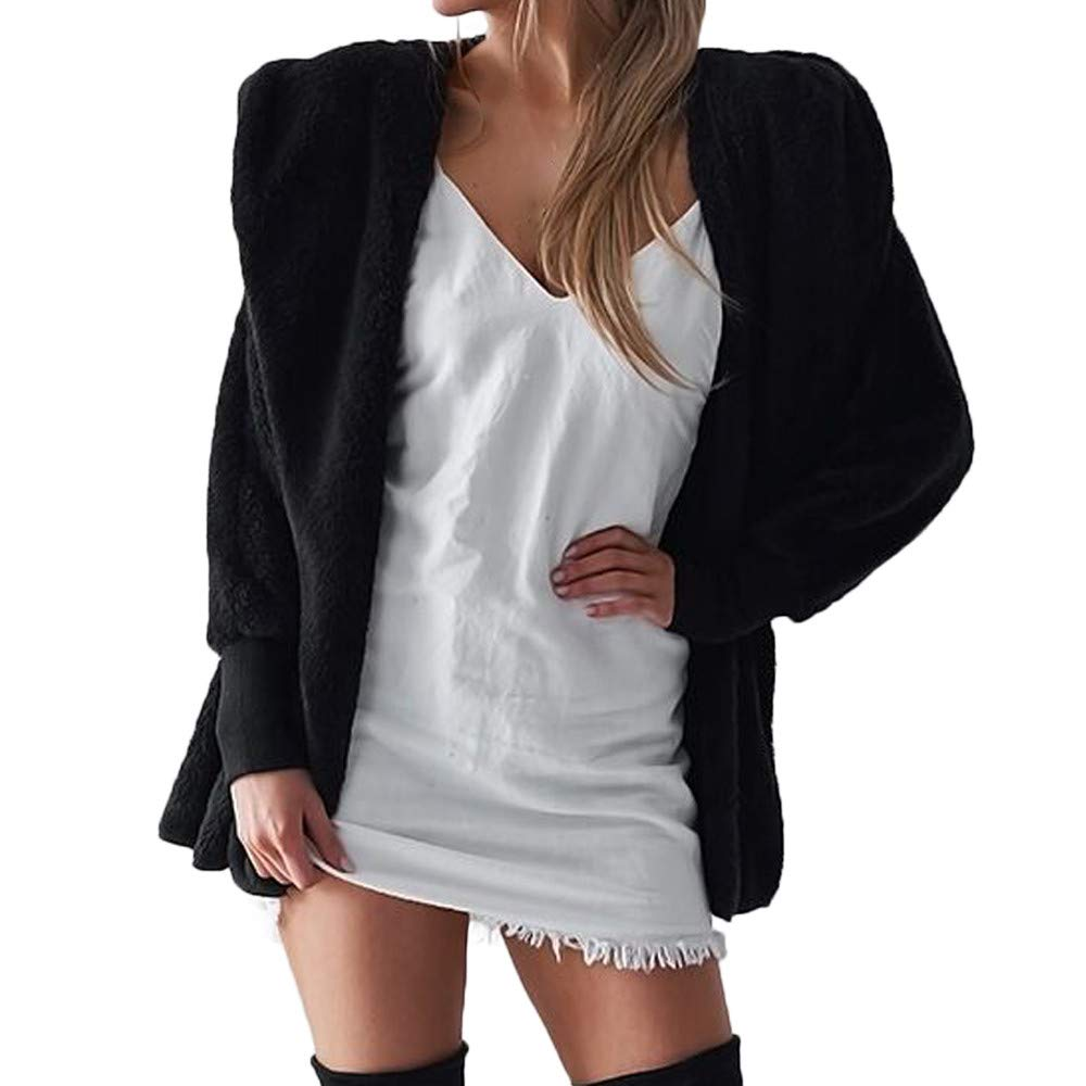 aliveGOT Womens Furry Open Front Hooded Cardigan Jacket Coat Outwear with Pocket (M, Black)