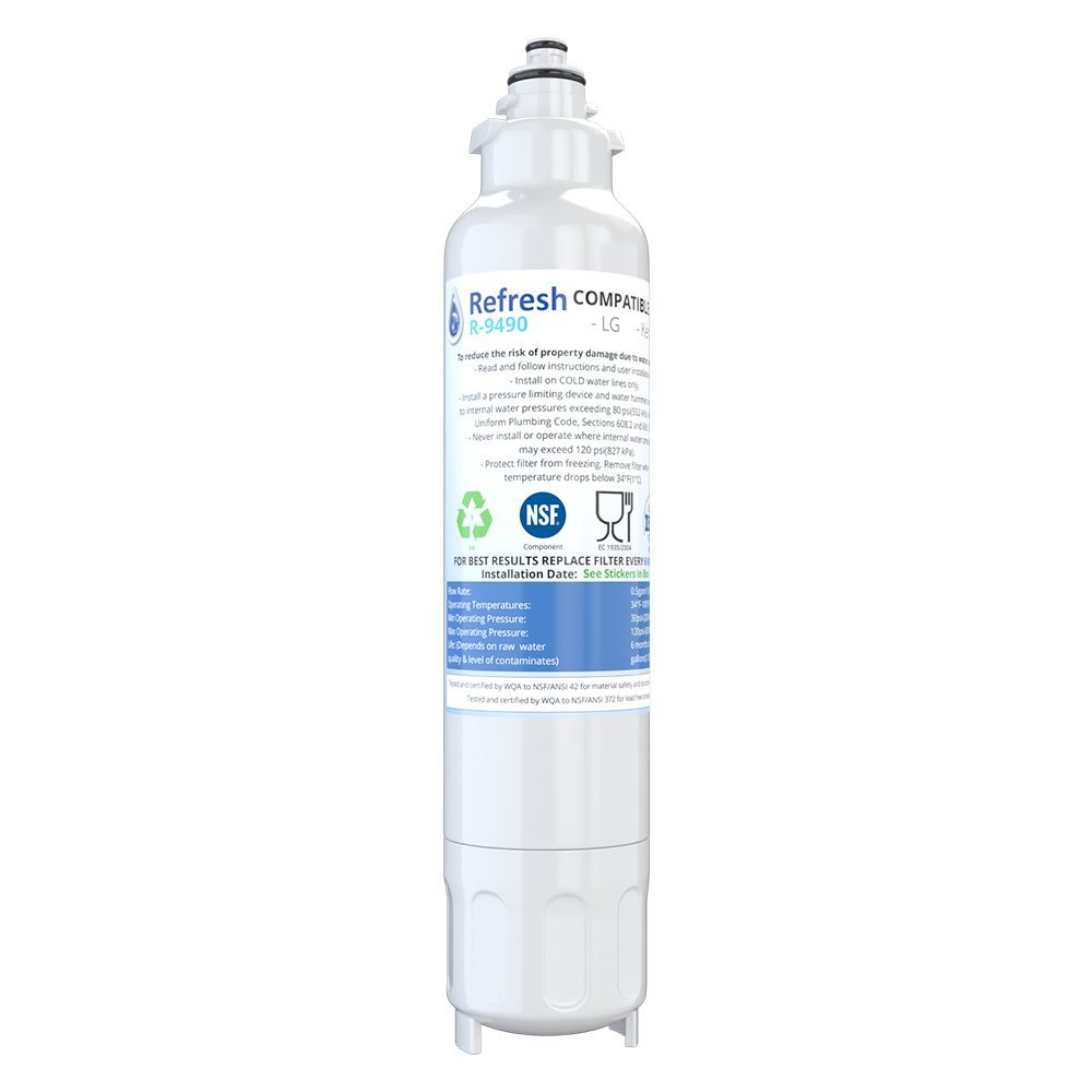 LG LT800P, ADQ73613401 / Kenmore Elite 46-9490 Water Filter for Refrigerator by Refresh - fits LG ADQ73613401, Kenmore 9490, 469490, ADQ73613402 (1 Pack)