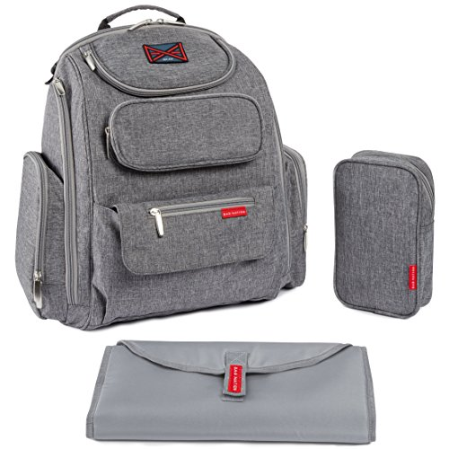 Image of the Bag Nation Diaper Bag Backpack with Stroller Straps, Changing Pad and Sundry Bag - Grey
