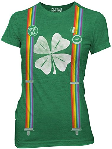 (St Patricks Day Leprechaun Costume with Rainbow Suspenders Juniors Tee (Soft Heather Green,)