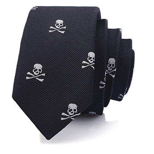 (Mens Silk Skinny Neat Tie in Halloween Skeleton Pattern 100% Chinese Silk Tie, )