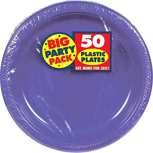 Amscan Reusable Round New Purple Plastic 10'' Pack 50 Party Supplies , 300 Pieces