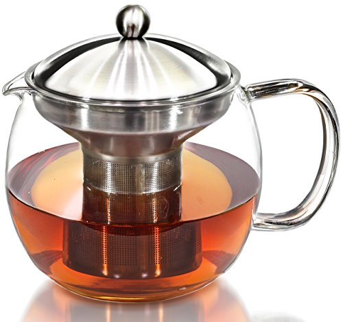 Teapot Kettle with Warmer - Tea Pot and Tea Strainer Set - Glass Tea Maker Infuser Holds 3-4 Cups Loose Leaf Iced Blooming or Flowering Tea - Teapots Kettles