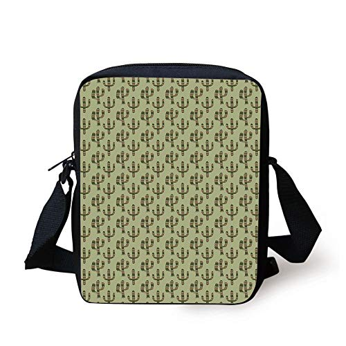 Cactus,Mexican Inspired Indigenous Foliage Abstract Chevron Nature Theme Decorative,Green Pistachio Green Caramel Print Kids Crossbody Messenger Bag Purse