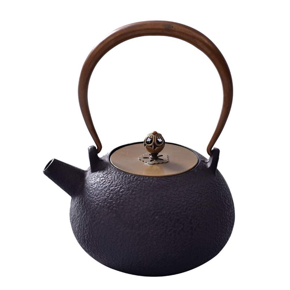 鋳鉄のティーポット、厚くなった鋳鉄のやかんの銅カバーお茶セット1L B07RL71X9M