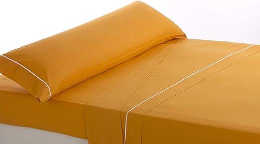 Lovetextil Juego de sábanas Algodon 100%. Color Naranja. para Cama de 105 cm. 3 Piezas (Sábana encimera+Bajera+Funda Almohada). Tejido Muy Suave: Amazon.es: Hogar