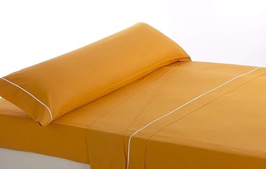 Lovetextil Juego de sábanas Algodon 100%. Color Naranja. para Cama ...