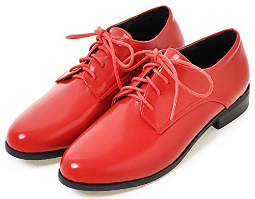 Women's Heel Lace Mofri Low Block Round Low Top Red Casual Shoes Toe Oxfords up aUAzwdqUT