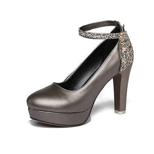 Plataforma de Mujer Tacón Alto Hebilla Correa Bombas Cómodos Tacones  Gruesos Lentejuelas Vestido de Fiesta Corte Zapatos Stilettos  Amazon.es   Zapatos y ... 7663b1409888