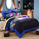 EsyDream Colorful Auspicious Clouds Bedding Sheet King Size,Outer Space Universe Duvet Cover Bedlinen Queen King Size 100% Polyester (No Comforter),Queen/Full Size
