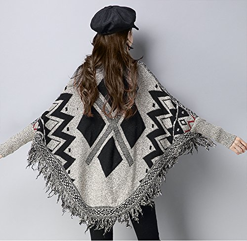 QZUnique Women's Batwing Tassels Poncho Cape Shawls Sweater Cloak Sleeves Coffee