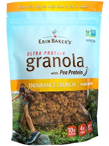 Erin Baker's Ultra Protein Granola, Endurance Crunch, Peanut Butter, Gluten-Free, Vegan, Non-GMO, Cereal, 12-ounce bags (Pack of -