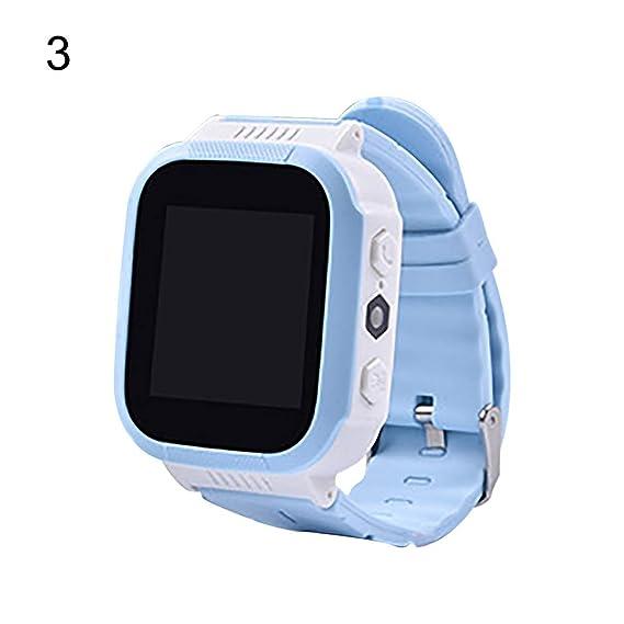 Slri Niños Reloj Inteligentes Pulsera Digital Llamada de teléfono de Pantalla táctil de Alarma fotografía localizador- Azul Blanco: Amazon.es: Relojes