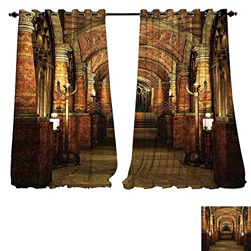 Youdeem-home Linen Blackout Curtains Ancient Passage with Stairways Secret Gateway Pillars Medieval Temple Theme Cocoa and Light Brown Insulated Room Darkening Curtains W84 x L108/Pair ()