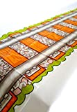 "4 x Railroad Train Track Party Table Cover Tablecloth Runner, Reusable Plastic Table Cover for Kids Parties L86"" x W17"" Inches, by Playscene (4 Pack)"