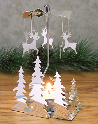 Spinning Metal Candle Holder - Reindeer Charms Spin Around When Candle Is Burning - Christmas Trees - Scandinavian Design - Rotary Candle Holder - Christmas Candle Holder by Banberry Designs