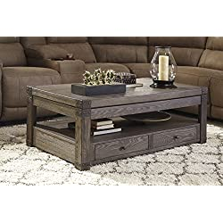 Burladen Grayish Brown Wood Rectangular Lift Top Cocktail Table