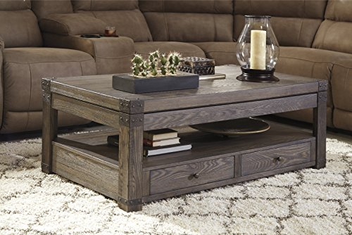Burladen Grayish Brown Wood Rectangular Lift Top Cocktail Table