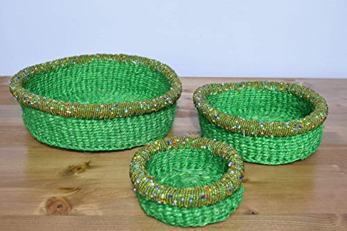 Set of Three African Baskets with Beads - 3'' Height x 8.5'' Wide - Handcrafted in Kenya - Emerald Green, KK21 ()