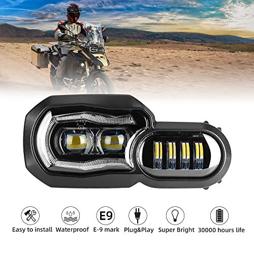 Led-koplamp voor motorfiets met Angel Eyes DRL-montage, E-Mark E-keurmerk, waterdichte DC12-24 V schijnwerper voor…