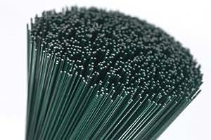 """Cabos 250 gramos (75 alambres) de 14"""" verdes lacados para floristas gruesos calibre 18"""