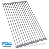 Roll Up Dish Drying Rack, Over the Sink Dish Drying Mat, Large Silicone Stainless Steel Dishes Drainer, Foldable Drain Rack for Kitchen 17.7'' L x 11.3'' (Gray)