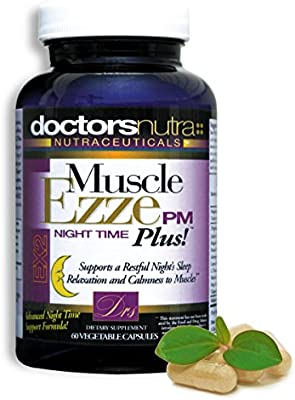 Natural Sleep Aid Muscle Ezze PM Plus Night Time Capsules by Doctors Nutra Nutraceuticals Non-Habit Forming Sleeping Pill Relief with Melatonin, Valerian, Chamomile, Lemon Balm, Herbs and Botanicals