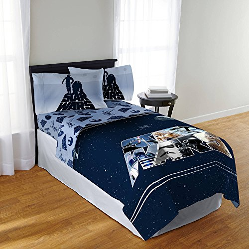 Star Wars BLUE Classic Design 6pc Twin Comforter, Sheet Set, Sticker and Tattoo Pack Bedding Collection