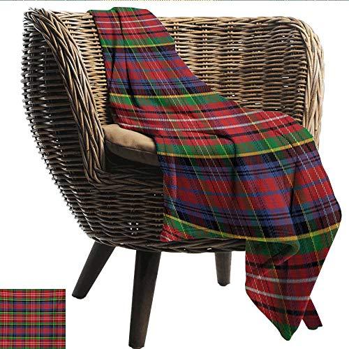 EwaskyOnline Plaid Flannel Blanket Caledonia Scottish Traditional Pattern Tartan Motif Abstract Squares Ornate Quilt Blanket on Bed Sofa Bedding 93