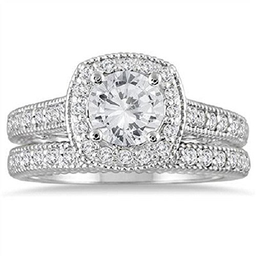 Smjewels 1 5/8 Ct Diamond 14k White Gold .925 Silver Halo Antique Wedding Ring Bridal Set ()