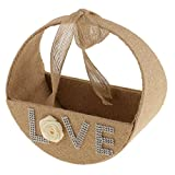 Dovewill Rustic Country Hessian Burlap Jute Basket Bowknot Round Flower Girl Basket Rose Love Wedding Ceremony Party Decoration