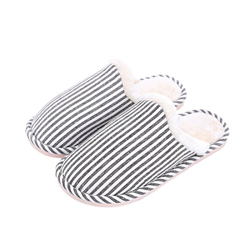 HBOS Women Men Soft Stripes Slippers Wood Floor Warm Non-Slip Home Shoes Black