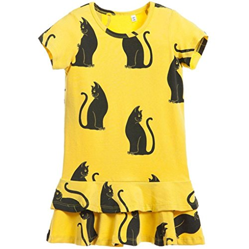 Little Girls Dresses, Inkach Baby Girls Black Cat Printing Short Sleeve Dual Layer Plicate Dress Clothing (120, (Neon Tutus For Sale)