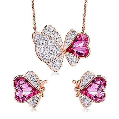 WANGLXTC Jewelry Set Fashion Butterfly Necklace Using Swarovski Elements Ms Stud Earring Mother's Day Send Fine Gift Box, Pink