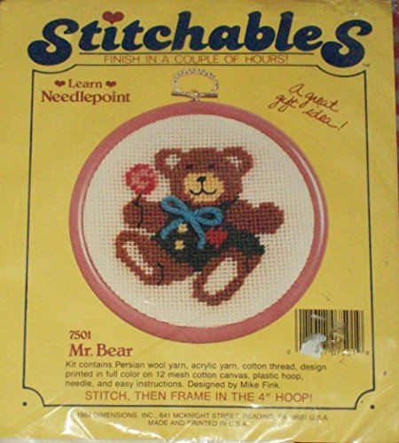 Amazon Mr Bear Dimensions Stitchables Needlepoint Kit 7501