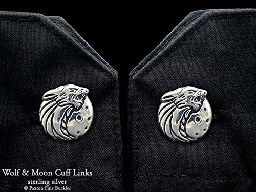 Howling Wolf Head Cuff Links in Solid Sterling Silver Hand Carved & Cast by Paxton by Paxton Jewelry