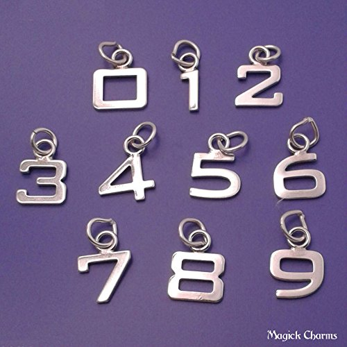 (OutletBestSelling Beads Bracelet Sterling Silver Number Charm Block Style - 6)